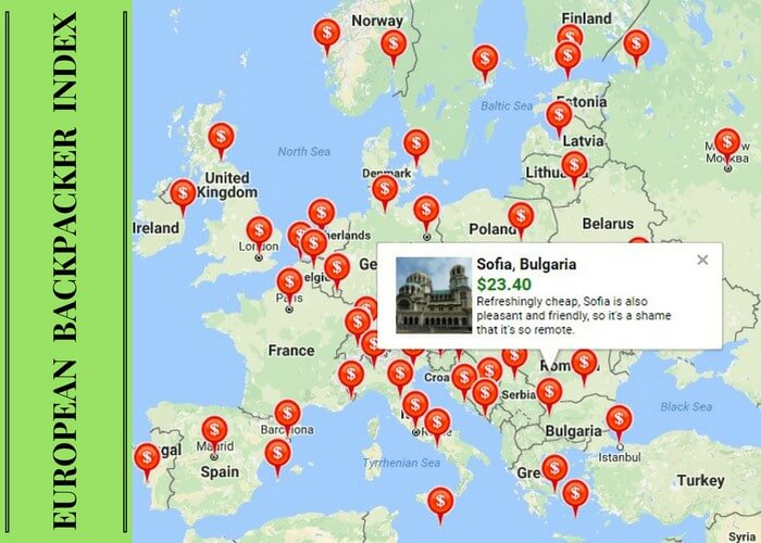 The cheapest European cities as listed by the EU Backpacker Index of 2016