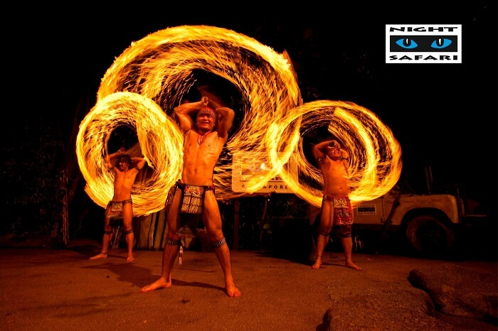 Fiery performances of fire warriors at Thumbuakar Show of Singapore Night Safari