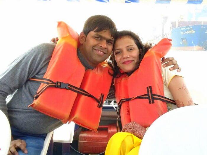 Vishu and Prachi on the jetty in Marine drive in Kochi