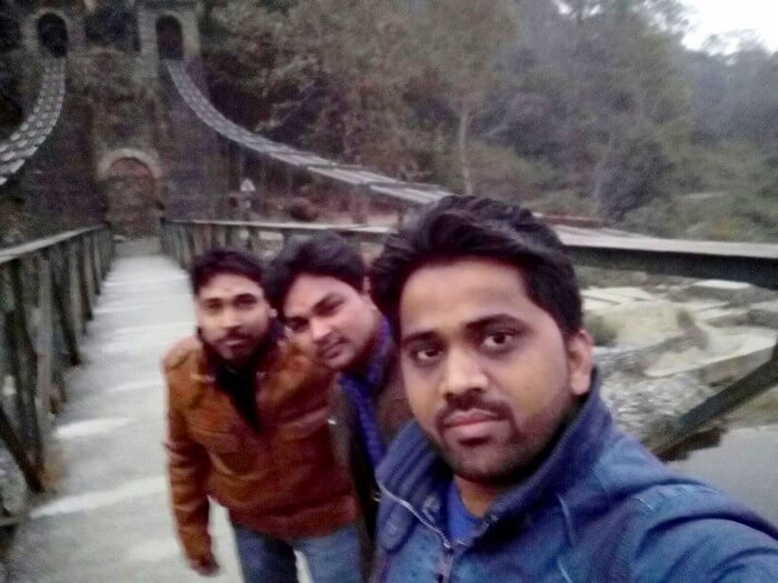 Rajveer and his friends at the Jhoola near Garjiya Devi Temple