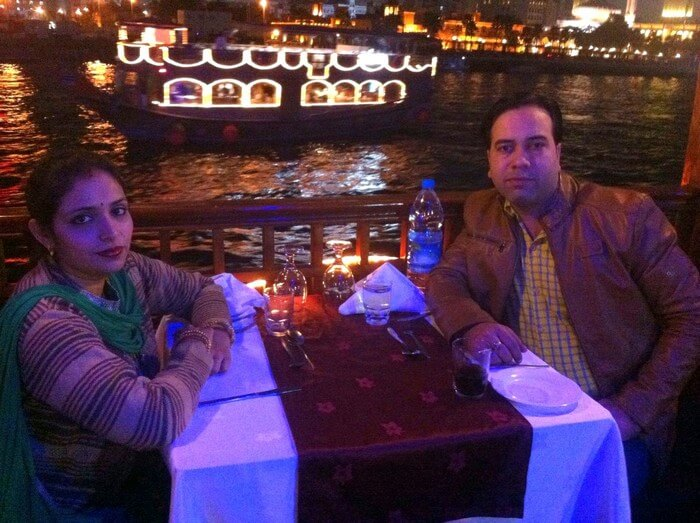 Kapil and his wife on the Dhow Cruise