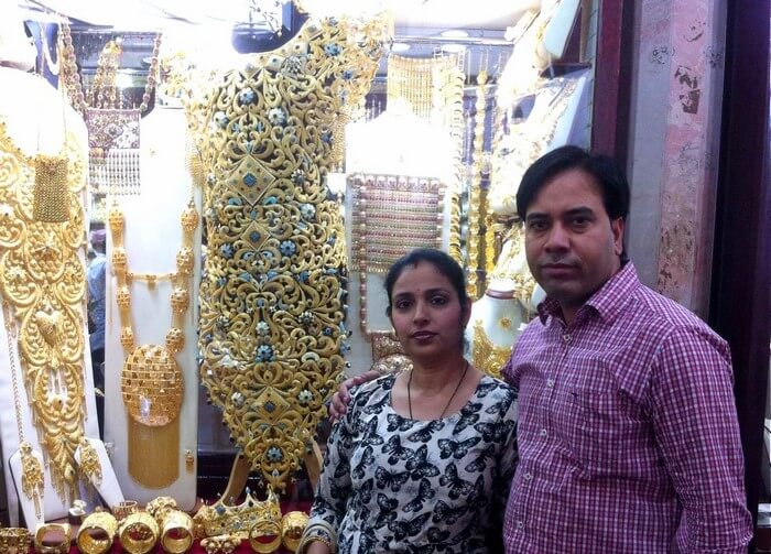 Kapil and his wife at the Gold Souk market