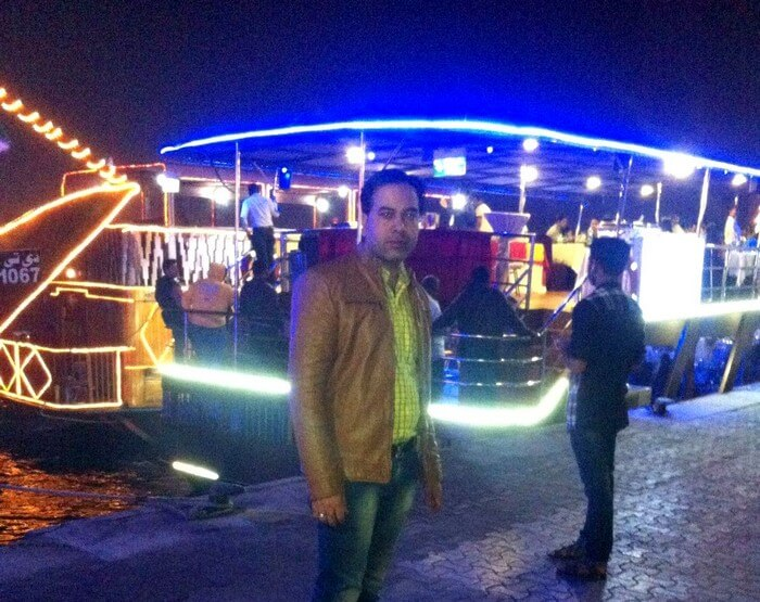 Kapil on the Dhow Cruise in Dubai