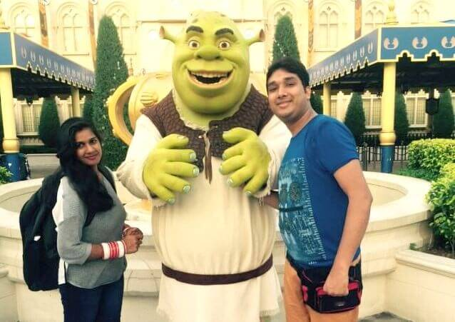 Kavya and Ram with Shrek at the Universal Studio