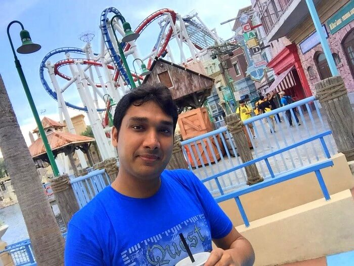 Ram in front of the Battlestar Galactica dueling roller coasters