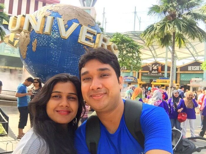 Kavya and Ram at Universal Studio in Singapore