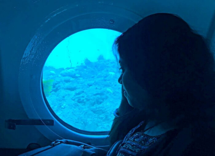 Sandeep's wife peeping out of the submarine