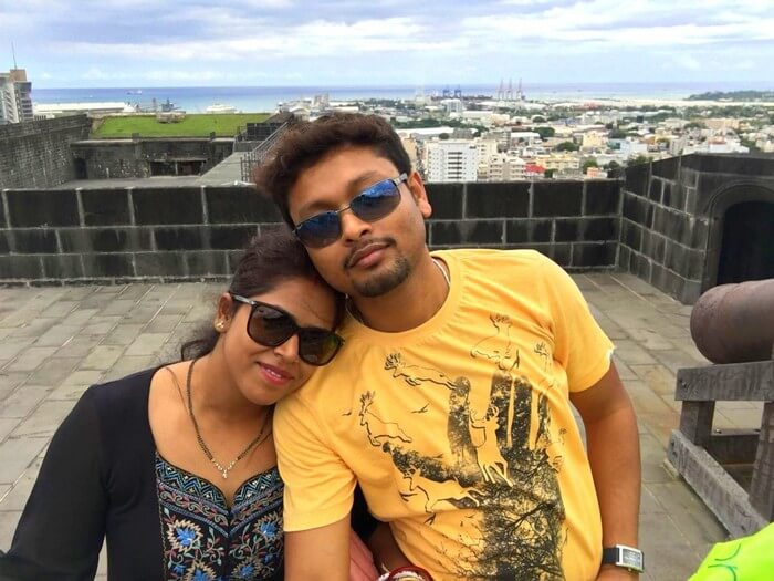 Sandeep and his wife at Fort Adelaide in North Island in Mauritius