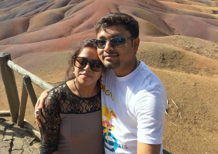 Sandeep and his wife at Seven Sands in Mauritius