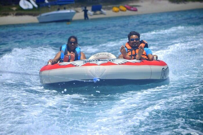 Sandeep and Samatha enjoying the Tube ride in Mauritius