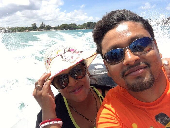Sandeep and Samatha on a speed boat in Mauritius
