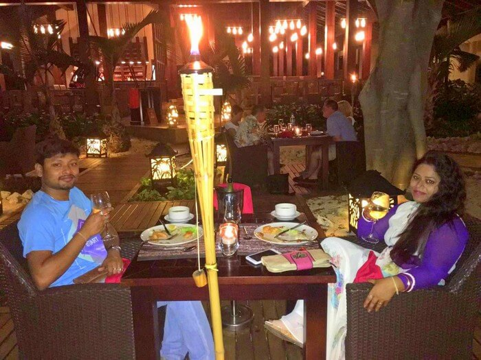 Sandeep and his wife dining at the InterContinental Resort in Mauritius