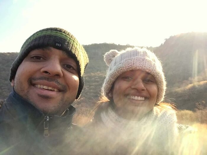 Rahul and his wife in Ranthambore National PArk