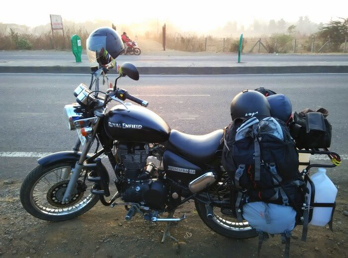 The thunderbird bike on which Karan completed his biking trip to Satpura