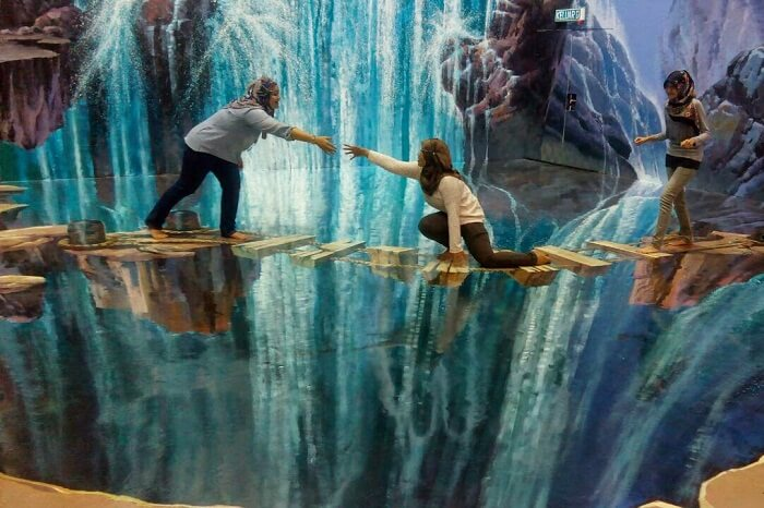 People get creative photos clicked at the 3D Museum – one of the best places to visit in Langkawi