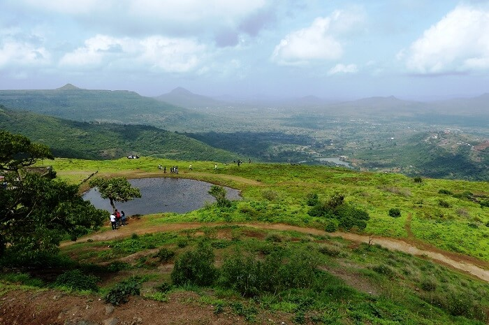 The mystical lake at the top of Lohagad Fort in Pune