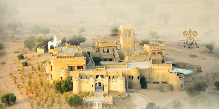 A bird's eye view of the Mihir Garh House near Jodhpur