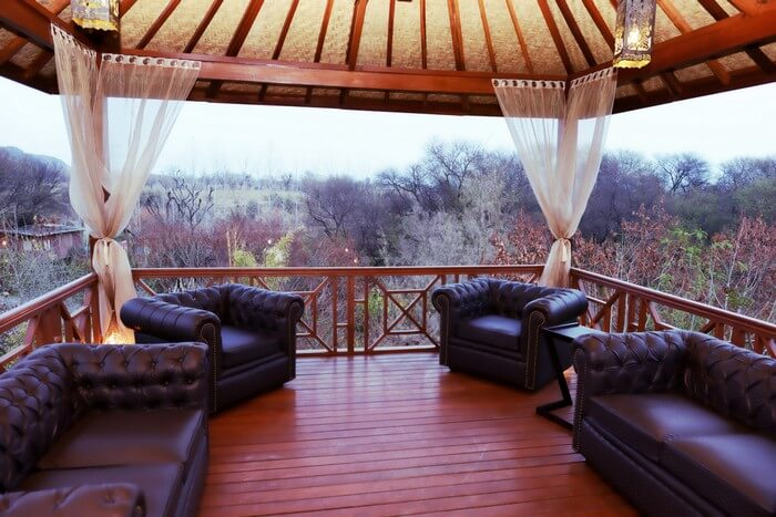 A private balcony at the Water House resort