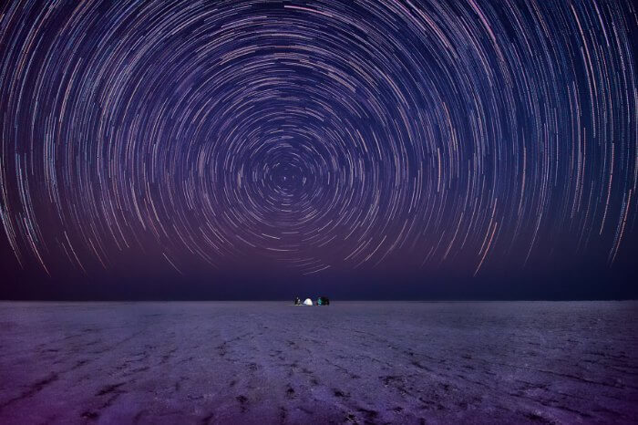 A stunning capture of the star trails over Rann of Kutch