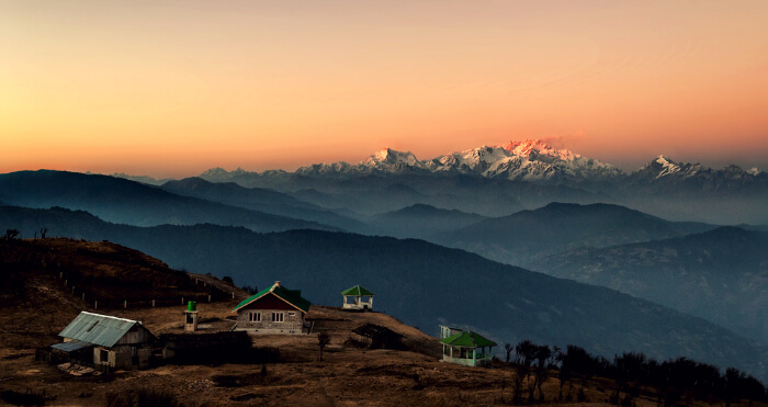 The Sandakphu Hills during sunset near Darjeeling