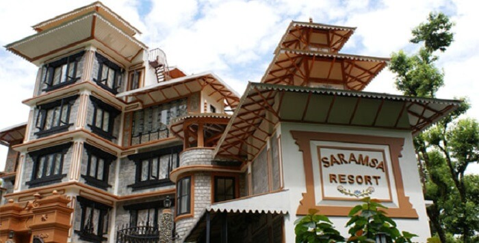 The grand building of Saramsa Resort is a mix of traditional and modern architecture