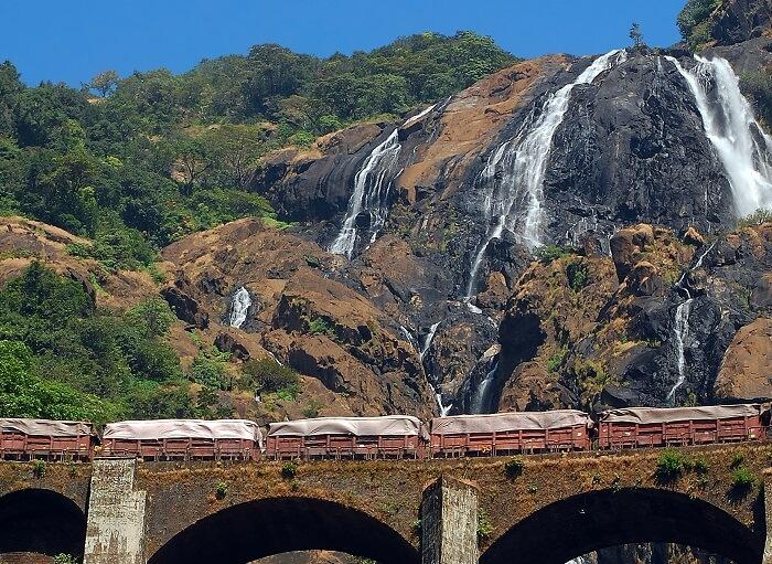 The luscious Dudhsagar Waterfall in Goa