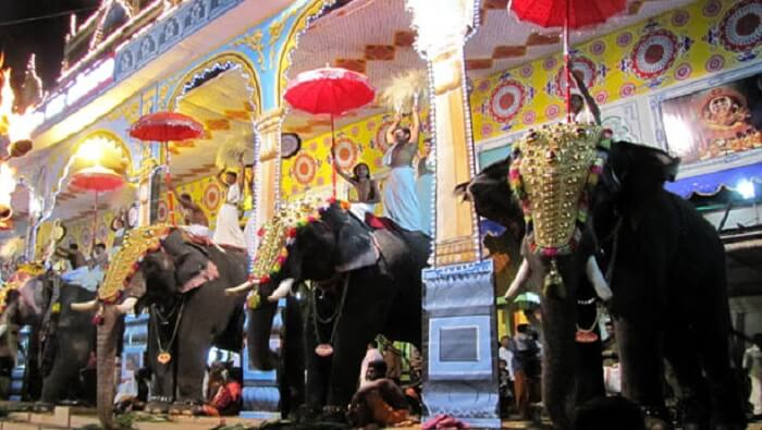 Festive celebration in Thirunakkara Mahadeva Temple complete with elephants and decorations
