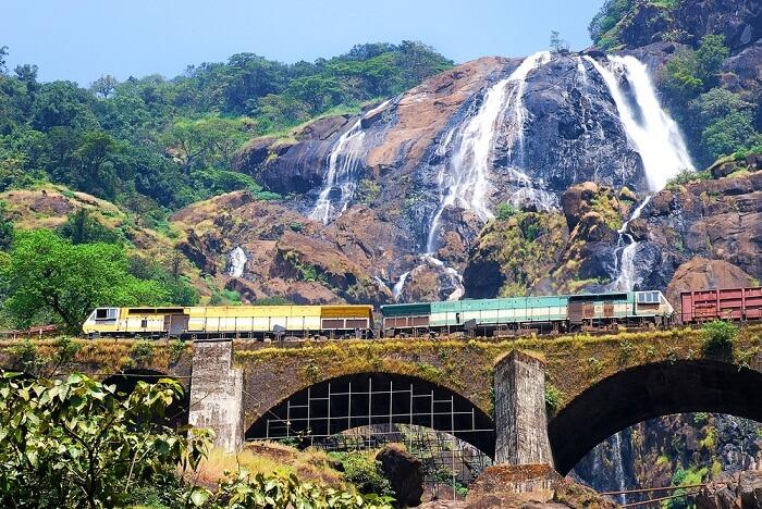 The train passing through Dudhsagar waterfalls in Goa