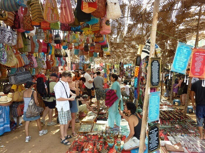 The famous Wednesday market of Goa at Anjuna beach