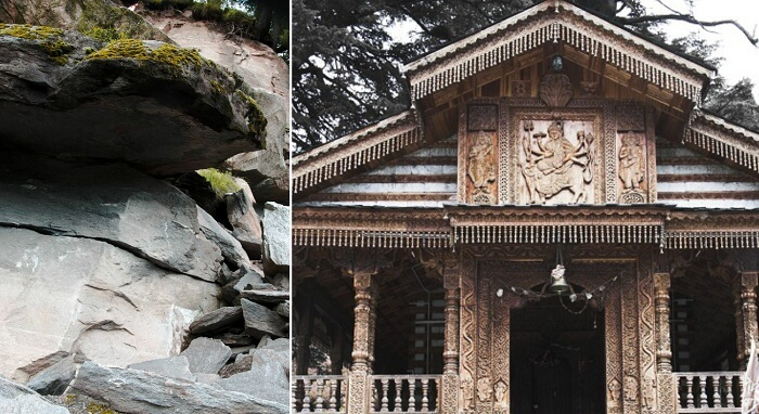 The entrance of the temple and the Arjuna Gufa nearby