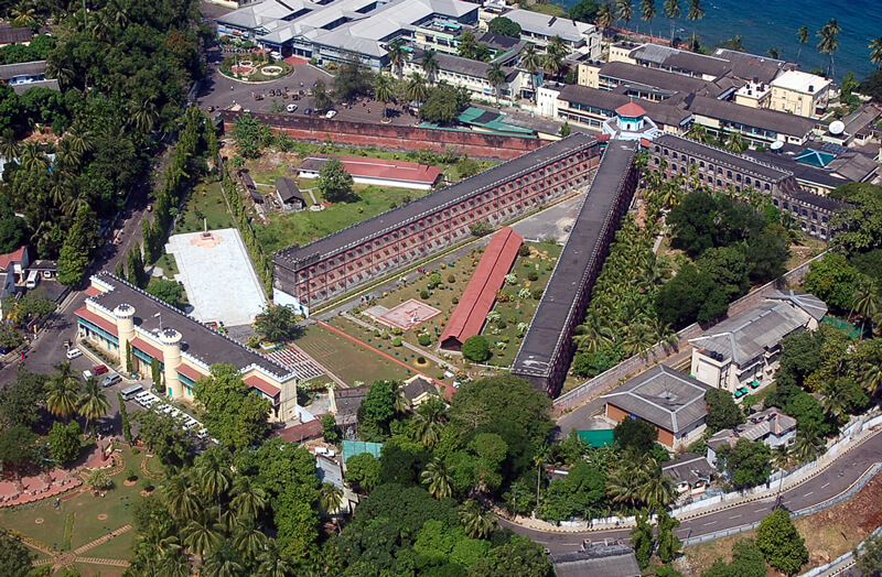 An aerial view of the Cellular Jail in Port Blair