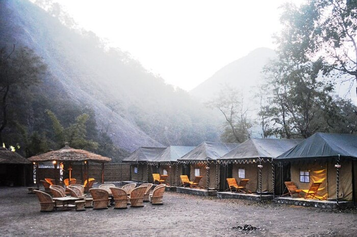 A foggy morning at the Cradle of Life Camp in Rishikesh