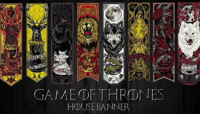 The banners of various houses in Game Of Thrones