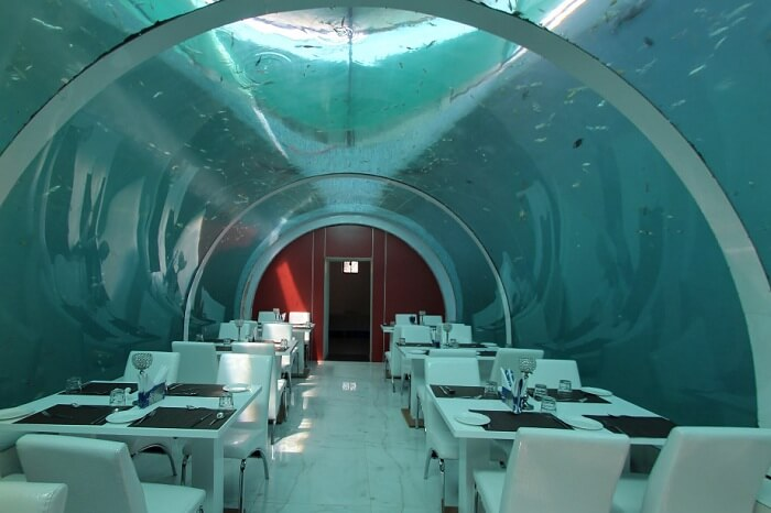 The insides of the first underwater restaurant in India
