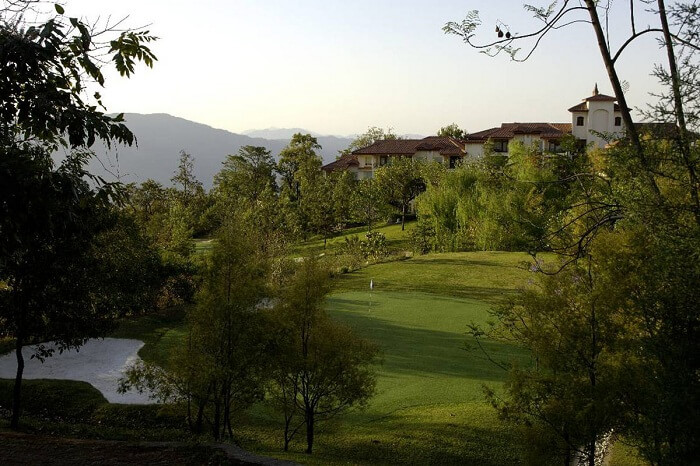 A view of the golf course at the Ananda Resort and Spa near Rishikesh