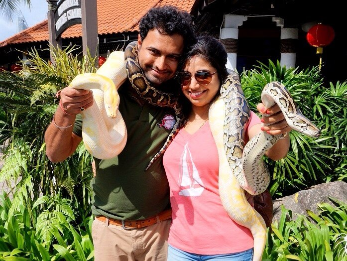 Bhargav and his wife in Sentosa Island
