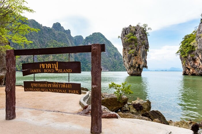 Nameplate attractions viewpoint at beach seaside of Khao Tapu or James Bond Island in Ao Phang Nga Bay National Park