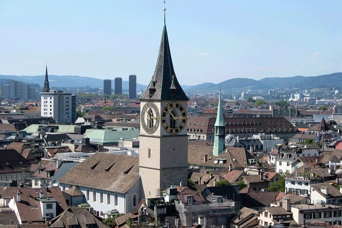 The large clock tower of the St Peter Church in Zurich