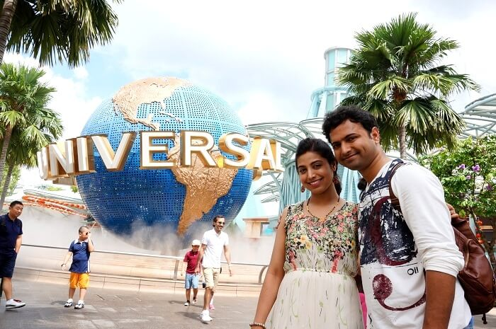 Bhargav and his wife in Universal Studio Singapore