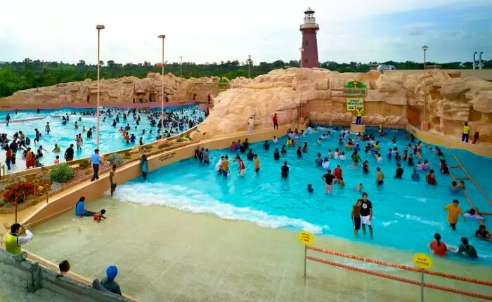 Water pool at the Wonderla water park in Bangalore