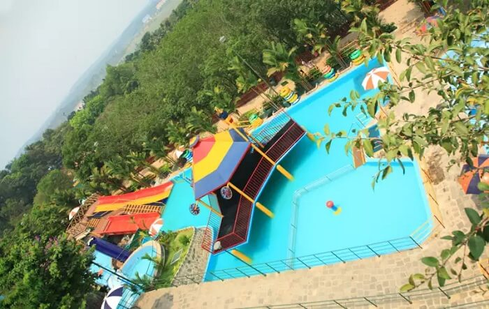 An aerial view of the Wonderla water park in Kochi
