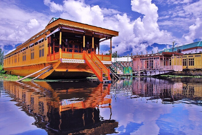 A deluxe houseboat floating in Dal Lake of Srinagar