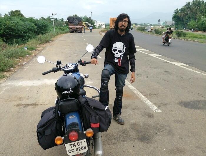 Sachin with his bike in Kanyakumari