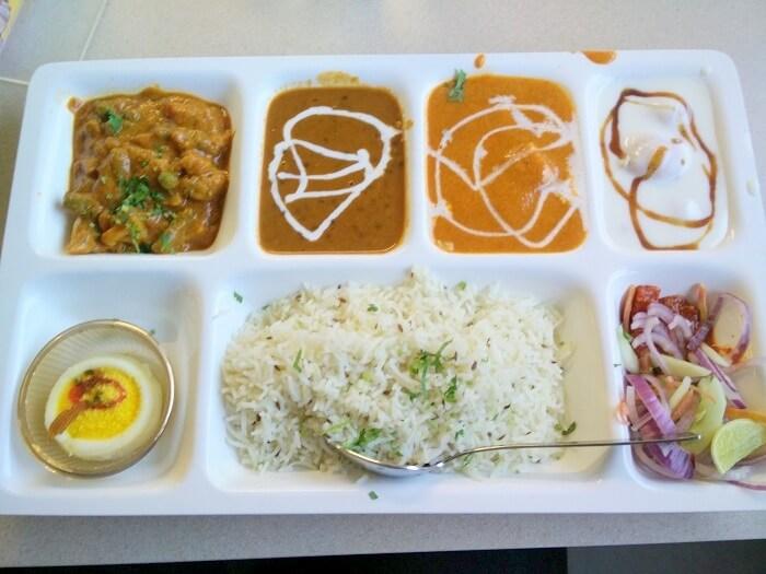 Sundar eating punjabi thali