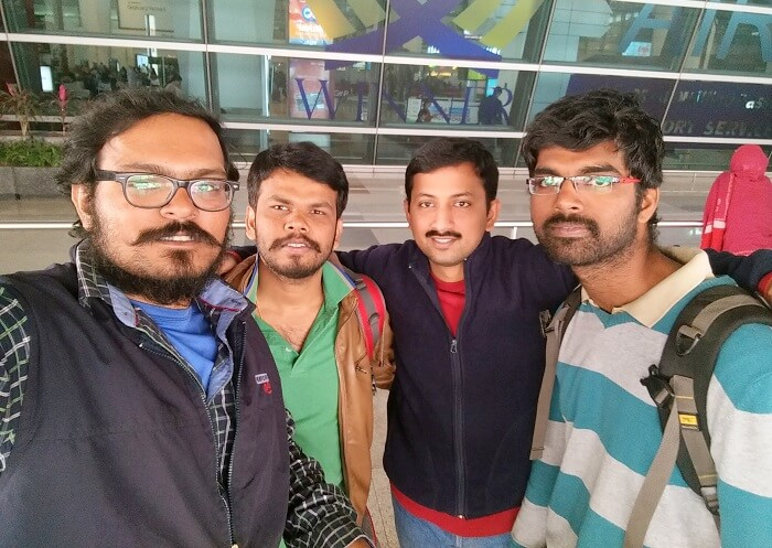 Sundar and his friends at the airport