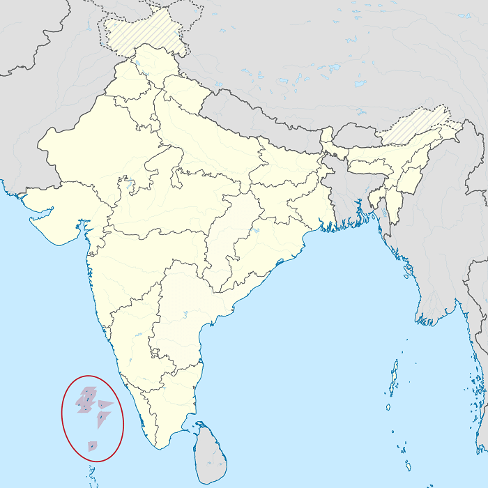 Location of Lakshadweep Islands highlighted in Indian Political Map