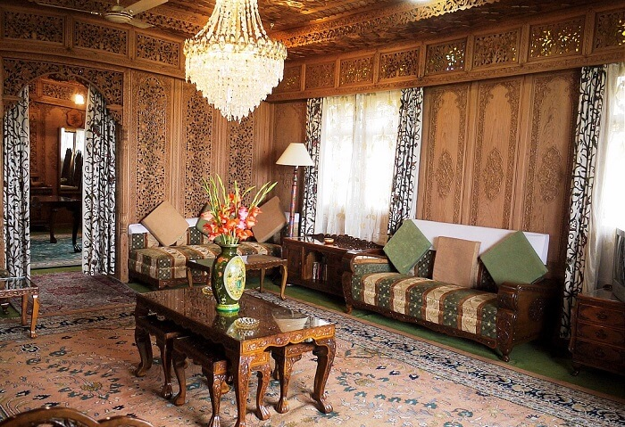 Houseboats in Srinagar come complete with facilities like this beautifully designed living area