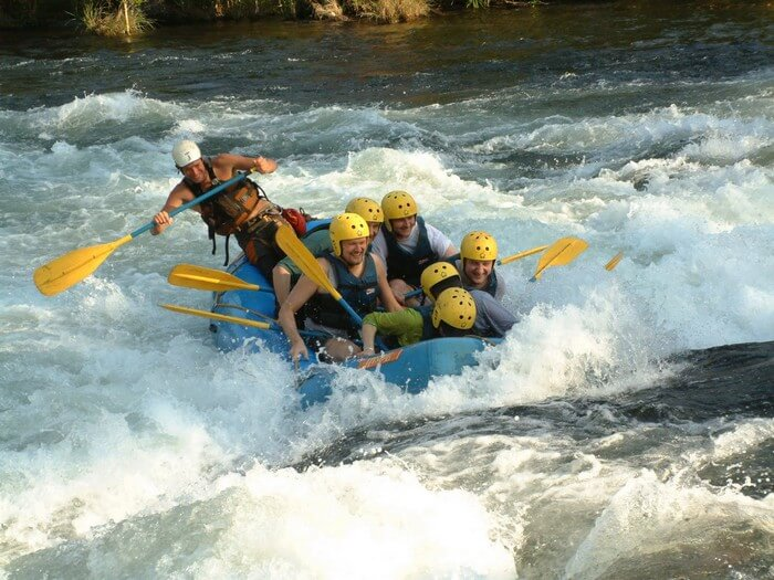 Rafters fight their way out while rafting in Mussoorie rapids