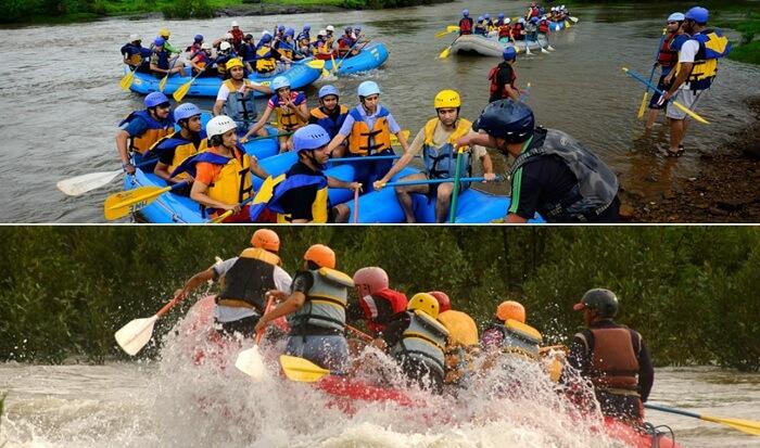 Adventurers try white water rafting in the Kundalika River at Kolad