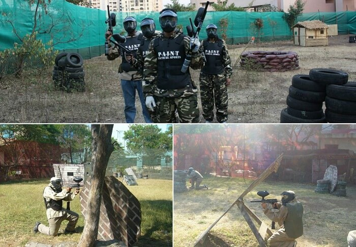 People indulge in paintball at one of the adventure clubs in Pune
